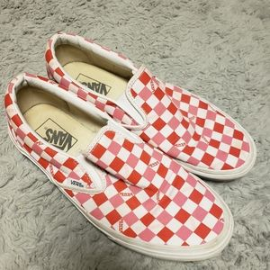 Slip on pink and red checkerboard vans